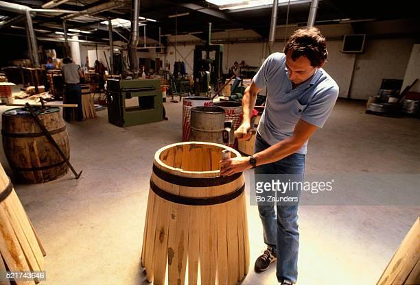 Man Making Wine Cask