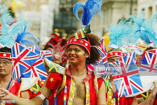 A man marches during the rally for Gay Pride on July 2 2005 in London More than 40 floats along with bands drummers and thousands of marchers and...