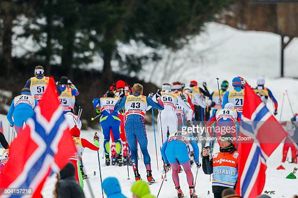 Man mass start during the FIS Nordic World Cup Men's and Women's Cross Country Tour de Ski on January 9 2016 in Val di Fiemme Italy