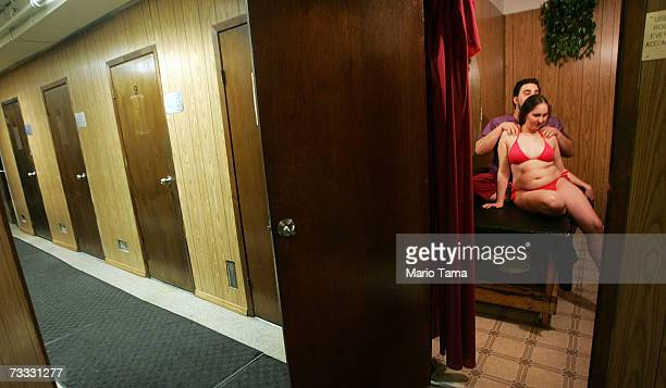A man massages his girlfriend during a Valentine's Day party in the East Village's historic Russian and Turkish Baths open since 1892 February 14...