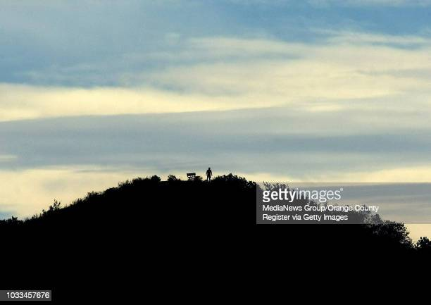 Man meets nature atop a hill at Peters Canyon Regional Park as a pastel sky serves as a backdrop The 340acre Orange park is open 7 am to sunset...