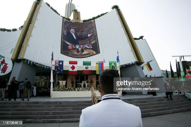 Man member of La Luz del Mundo Church arrives during the welcome ceremony to the international delegations at Hermosa Provincia, the religious group...