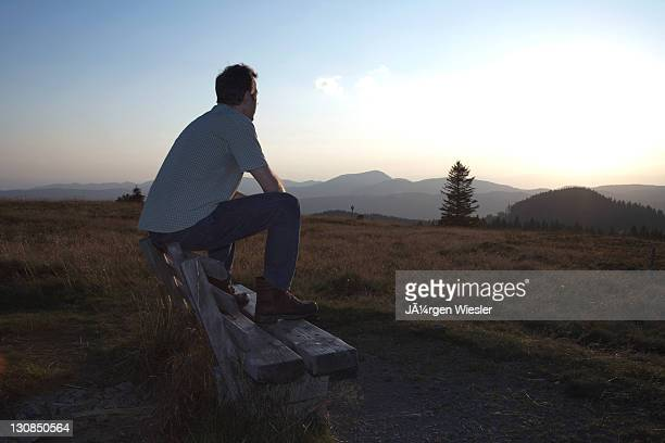 man, mid 40s, sitting on a bench and looking into the distance, black forest, baden-wuerttemberg, germany, europe - vista lateral stock pictures, royalty-free photos & images