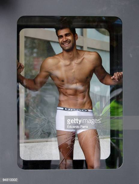 A man models 'unno anatomic underwear' the first underwear for men which is designed to enhance male 'attributes' on December 16 2008 in Madrid Spain