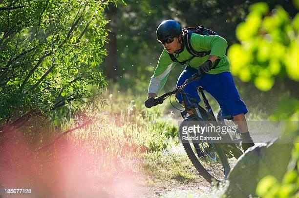 a man, mountain biking on the scott's lake trail in south lake tahoe, ca. - サウスレイクタホ ストックフォトと画像