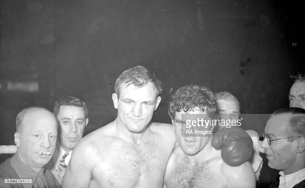 'Man Mountain' Joe Baksi American heavyweight of Pennsylvania forced light heavyweight Freddie Mills of Bournemouth to retire with badly cut eye at...
