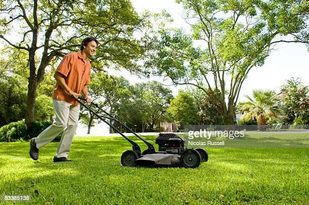 Man mows lawn