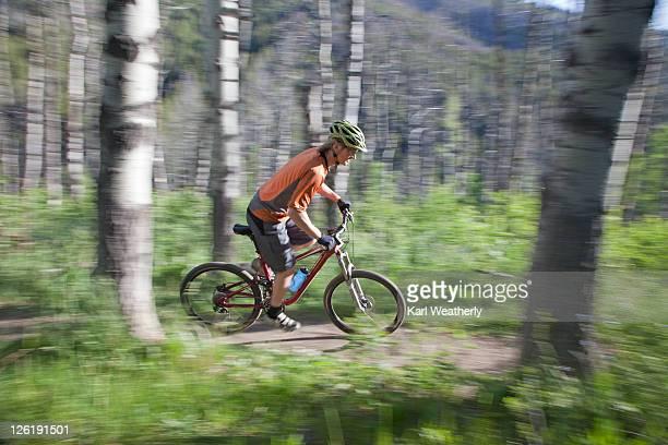 man mt biking - sun valley idaho stock photos and pictures