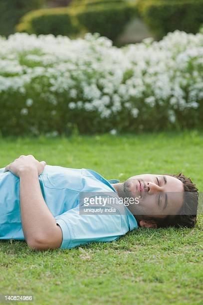 Man napping in a garden