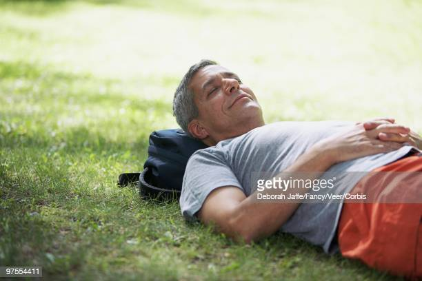 Man Napping in Grass