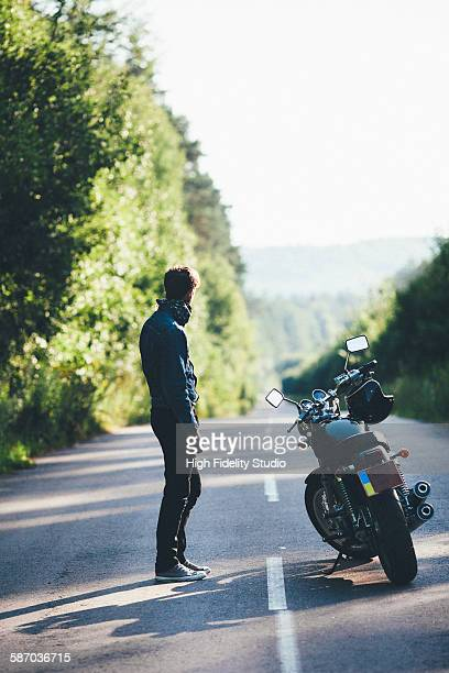 Man near the motorcycle