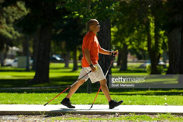 Man nordic walking in Salt Lake City, Utah.