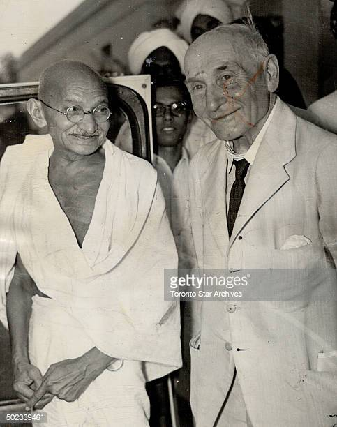 Man of peace Mohandas K Gandhi today was shot to death by a Hindoo assassin one of the millions he led to independence He is seen with Lord...