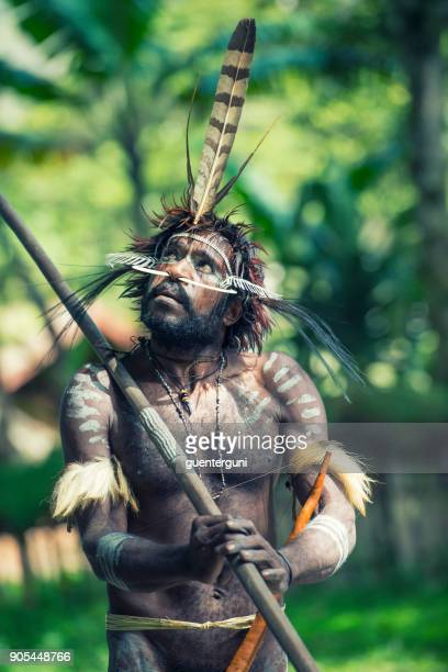 man of the dani tribe in traditional clothing, west-papua - astuccio penico foto e immagini stock