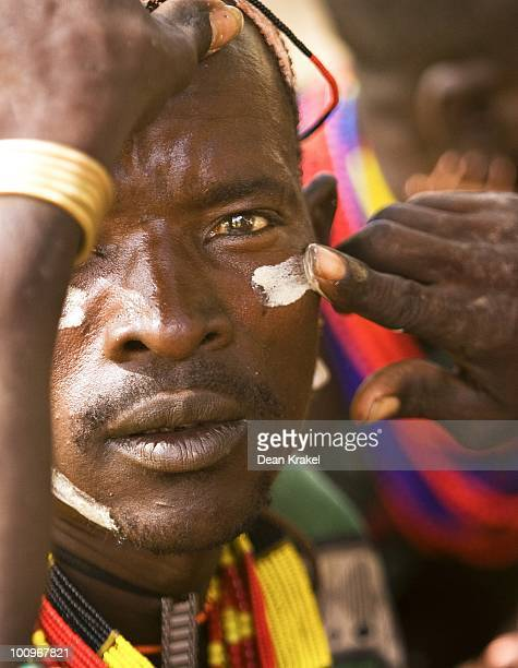 A man of the Hamar Tribe is decorated during a wedding ceremony in the village of Unga Bayno The Lower Omo Valley is home to unique indigenous tribal...