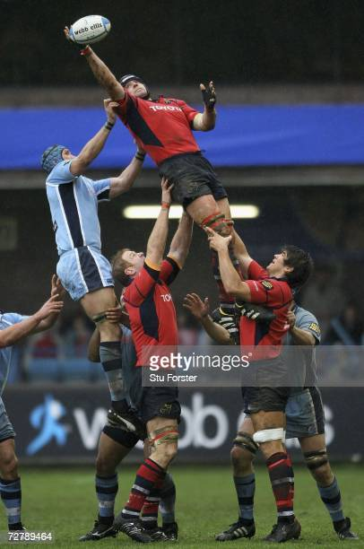 Man of the Match Alan Quinlan of Munster wins a lineout ball during the Heineken Cup Group 4 Match between Cardiff Blues and Munster at Cardiff Arms...
