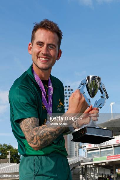 Man of the Match Alex Hales of the victorious Nottinghamshire side with the Royal London One-Day Cup Trophy at Lord's Cricket Ground on July 1, 2017...