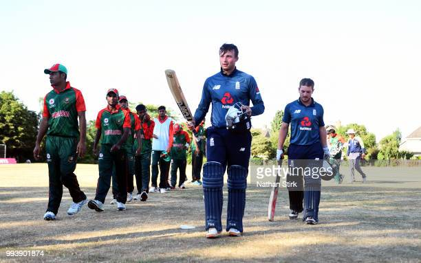 Man of the Match Alex Hammond walks off the pitch after they beat Bangladesh during the Vitality IT20 Physical Disability TriSeries match between...