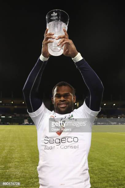 Man of the Match Alivereti Raka of Clermont Auvergne celebrates after European Rugby Champions Cup match between Saracens and ASM Clermont Auvergne...