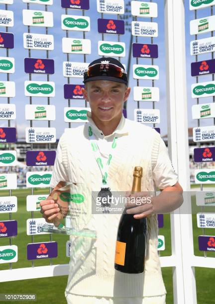 Man of the Match and England player Sam Curran with his trophy during day 4 of the First Specsavers Test Match between England and India at Edgbaston...