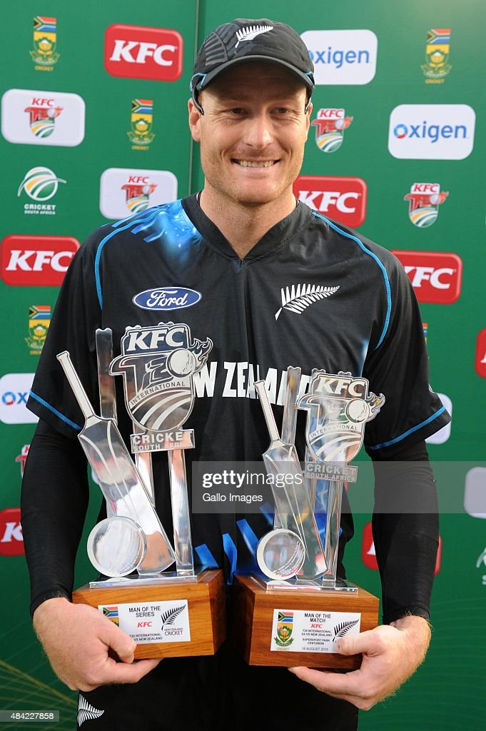 Man of the match and Man of the series, Martin Guptill of New Zealand during the 2nd KFC T20 International match between South Africa and New Zealand at SuperSport Park on August 16, 2015 in Centurion, South Africa.