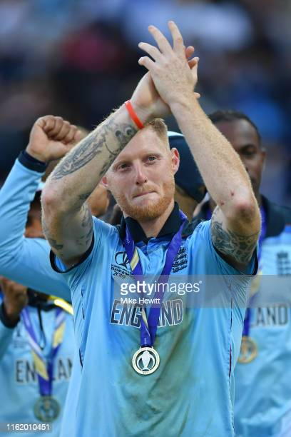 Man of the Match Ben Stokes of England salutes the crowd at the end of the Final of the ICC Cricket World Cup 2019 between England and New Zealand at...