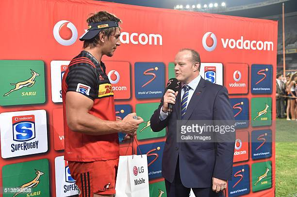 man of the match Eben Etzebeth of the DHL Stormers during the 2016 Super Rugby match between Toyota Cheetahs and DHL Stormers at Toyota Stadium on...