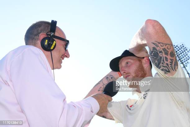 Man of the Match England batsman Ben Stokes is interviewed by BBC Cricket cmmentator Jonathan Agnew after day four of the 3rd Ashes Test Match...