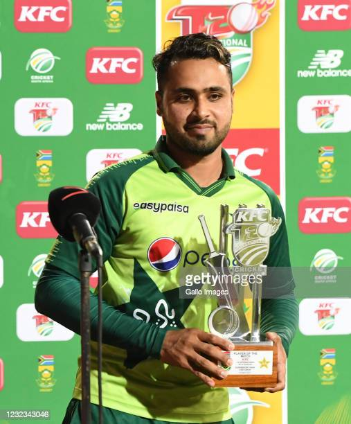 Man of the match, Fakhar Zaman of Pakistan during the 4th KFC T20 International match between South Africa and Pakistan at SuperSport Park on April...