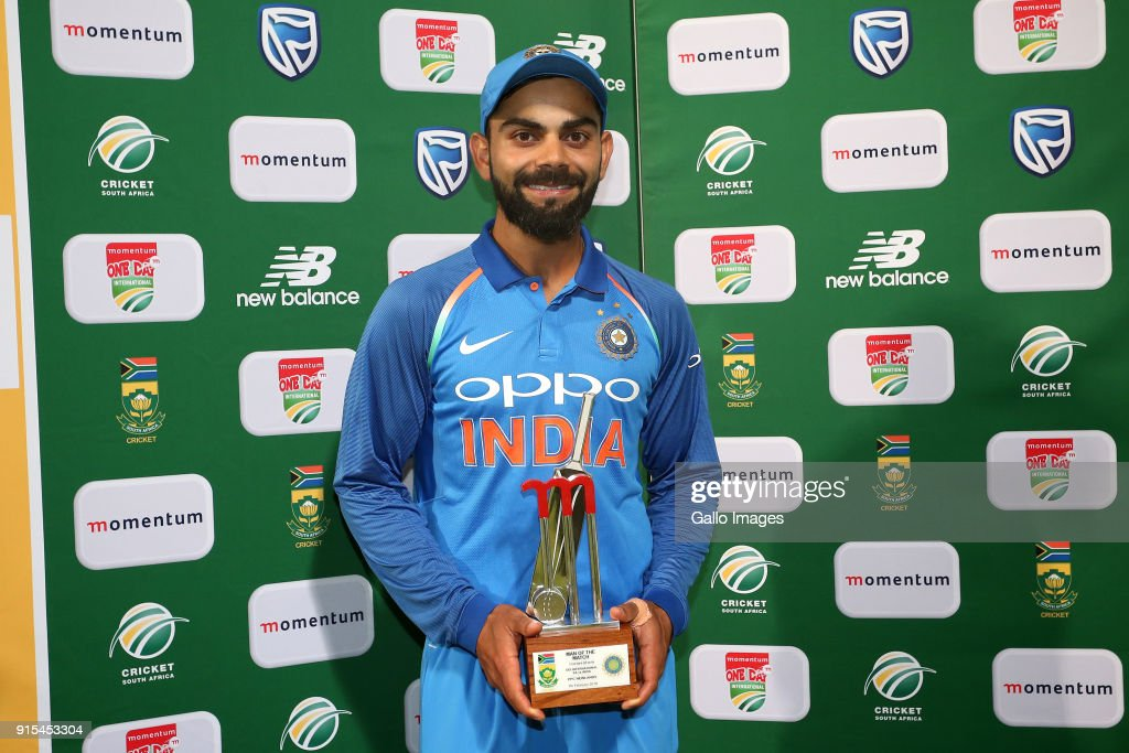 Man of the Match Indian captain Virat Kohli during the 3rd Momentum ODI match between South Africa and India at PPC Newlands on February 07, 2018 in Cape Town, South Africa.