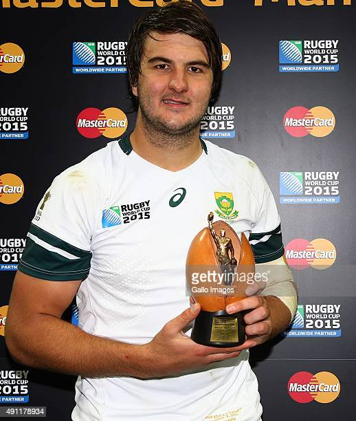 Man of the Match Lodewyk de Jager of South Africa during the Rugby World Cup 2015 Pool B match between South Africa and Scotland at St James Park on...
