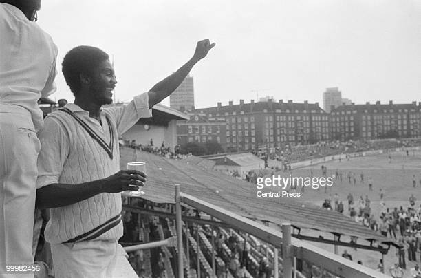 Man of the Match Michael Holding acknowledging the crowd after the West Indies beat England by 231 runs in the Wisden Trophy 5th Test at The Oval...