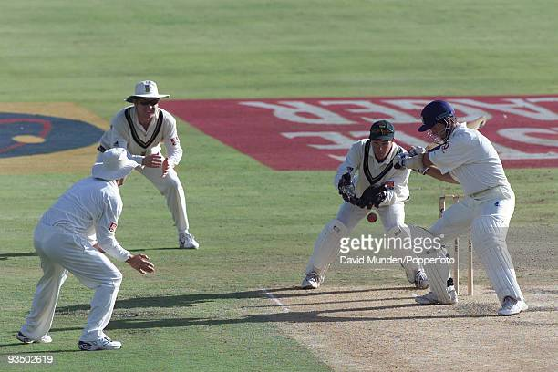 Man of the match Michael Vaughan batting for England during his innings of 69 runs on the fifth day of the 5th Test match between South Africa and...