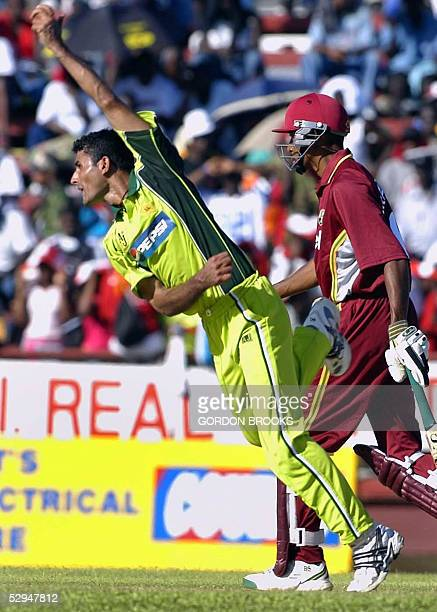 Man of the match Pakistan's Abdul Razzaq in action taking 4 West Indies wickets for 29 runs during the 1st Digicel ODI at Arnos Vale in Kingstown,...