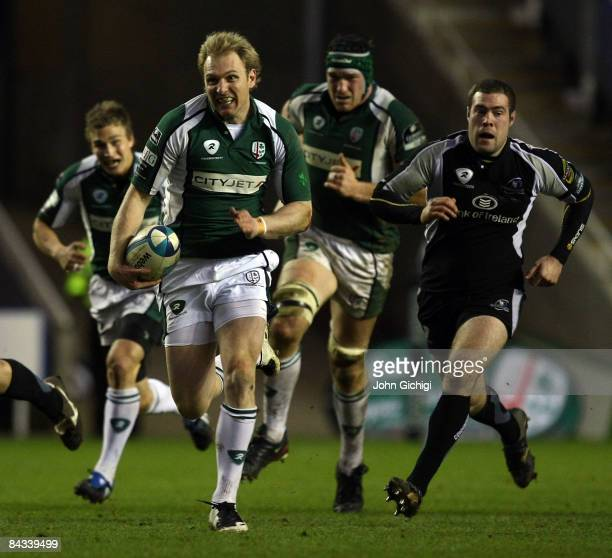 Man of the Match Peter Hewat of London Irish breaks away to score a try during the European Challenge Cup game between London Irish and Connacht...