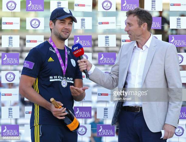 Man of the match Rilee Rossoux is interviewed by Sky Sports commentator Mike Atherton at the end of the Royal London OneDay final match between Kent...