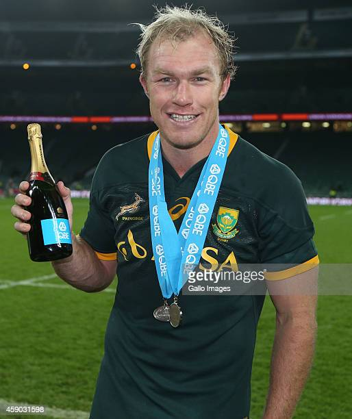Man of the match Schalk Burger of South Africa celebrates their victory after the QBE International match between England and South Africa at...