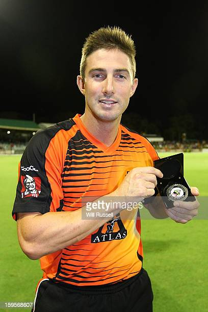 Man of the match Shaun Marsh of the Scorchers after the Big Bash League semifinal match between the Perth Scorchers and the Melbourne Stars at the...