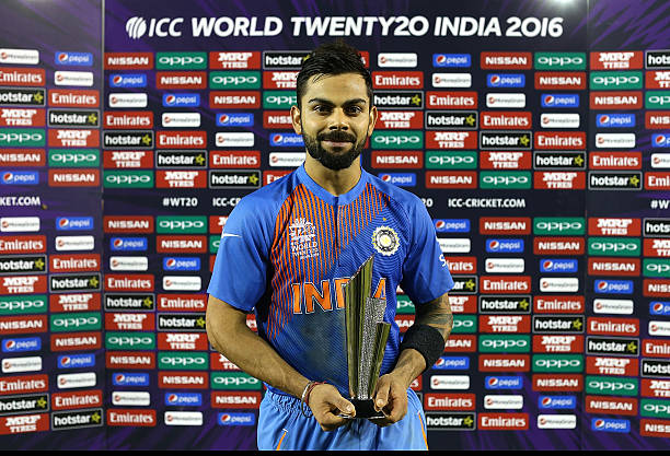 Man of the match Virat Kohli of India poses following the ICC World Twenty20 India 2016 Super 10s Group 2 match between India and Australia at IS...