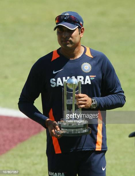 Man of the Match VVS Laxman during day 4 of the 2nd Test match between South Africa and India at Sahara Stadium Kingsmead on December 29 2010 in...