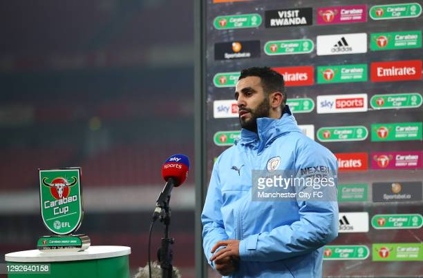 Man Of The Match winner Riyad Mahrez of Manchester City talks to the media after the Carabao Cup Quarter Final match between Arsenal and Manchester...