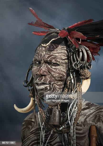 man of the mursi tribe, omo valley, ethiopia - mursi tribe stock pictures, royalty-free photos & images