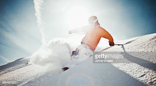 Man off-piste skiing, Val Thorens
