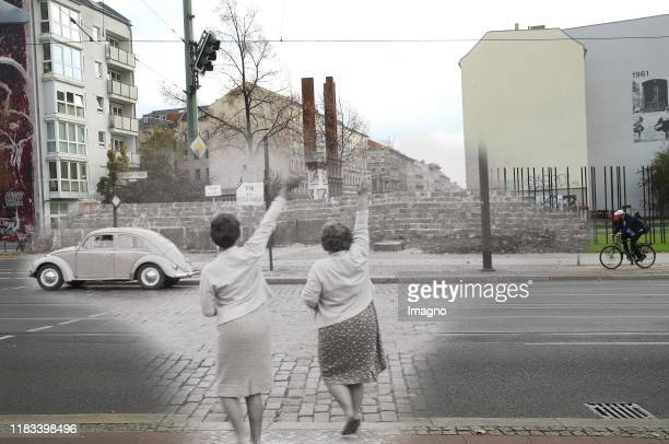 This digital composite image shows Bernauer Strasse in Berlin in 1961 or 1962 and on October 25 2019 BERLIN GERMANY OCTOBER 25 A man on a bicycle...
