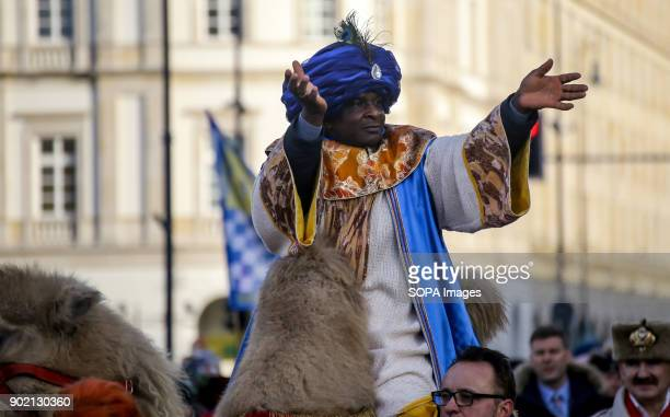 A man on a camel seen taking part in the Epiphany procession also know as Three Kings Day The Catholic feast day remembered the visit of the Three...