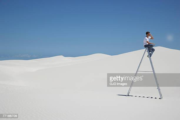 A man on a ladder on a cellular phone in the middle of nowhere
