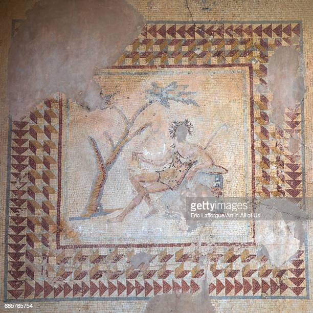 Man on a mosaic in the archaeological site Beqaa Governorate Baalbek Lebanon on May 1 2017 in Baalbek Lebanon