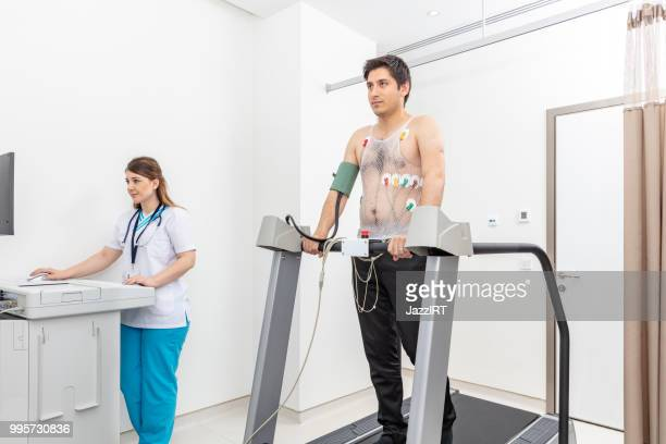 Man on a treadmill stress test in cardiac rehabilitation