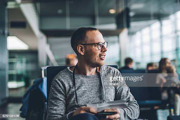 Man on airport ready to board