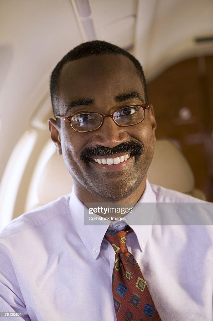 Man on an airplane : Stockfoto